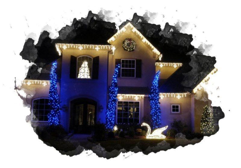 вариант оформления двора дома светодиодной гирляндой