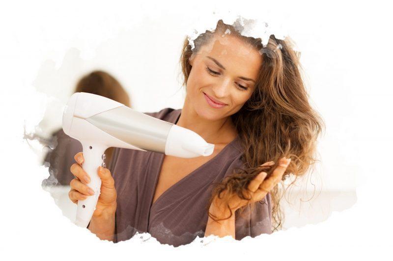 как сушить волосы феном